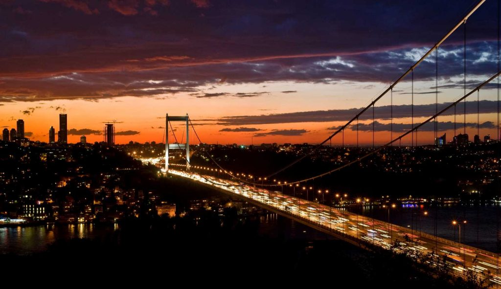 Istanbul Bridge Night time