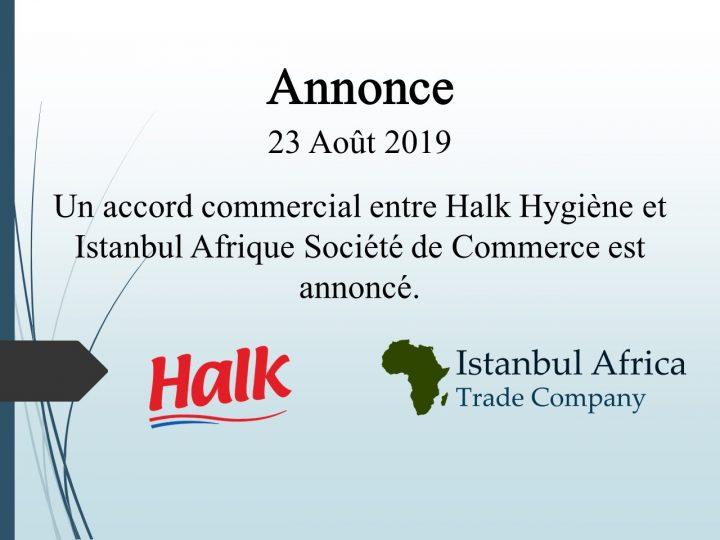 Accord de Coopération Commerciale avec Halk Hygiène