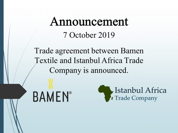 Trade Cooperation Agreement with Bamen Textile