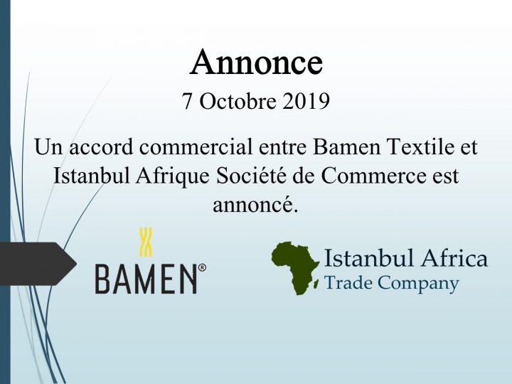 Accord de Coopération Commerciale avec Bamen Textile