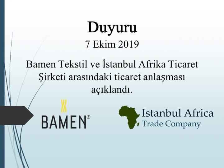 Bamen Tekstil ile Ticari İşbirliği Anlaşması